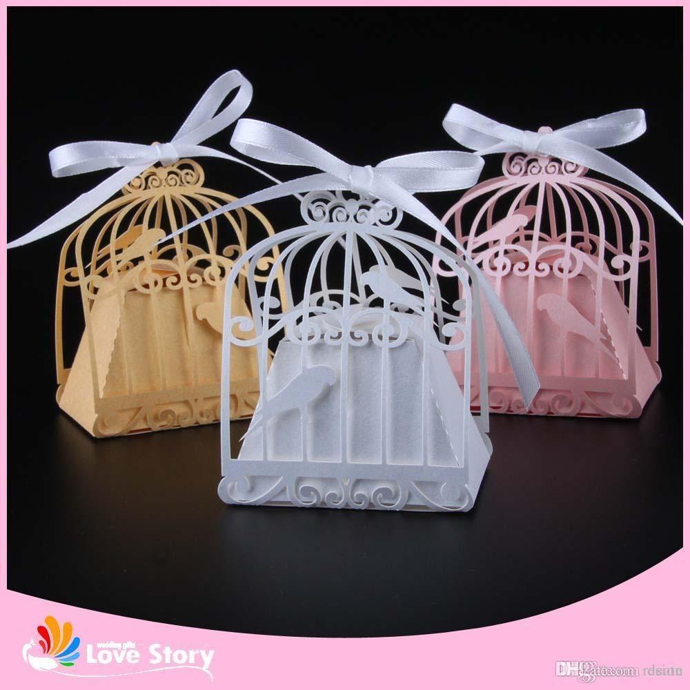 Wholesale Birdcage Laser Cut Wedding Box Love Birds Candy Box Gift