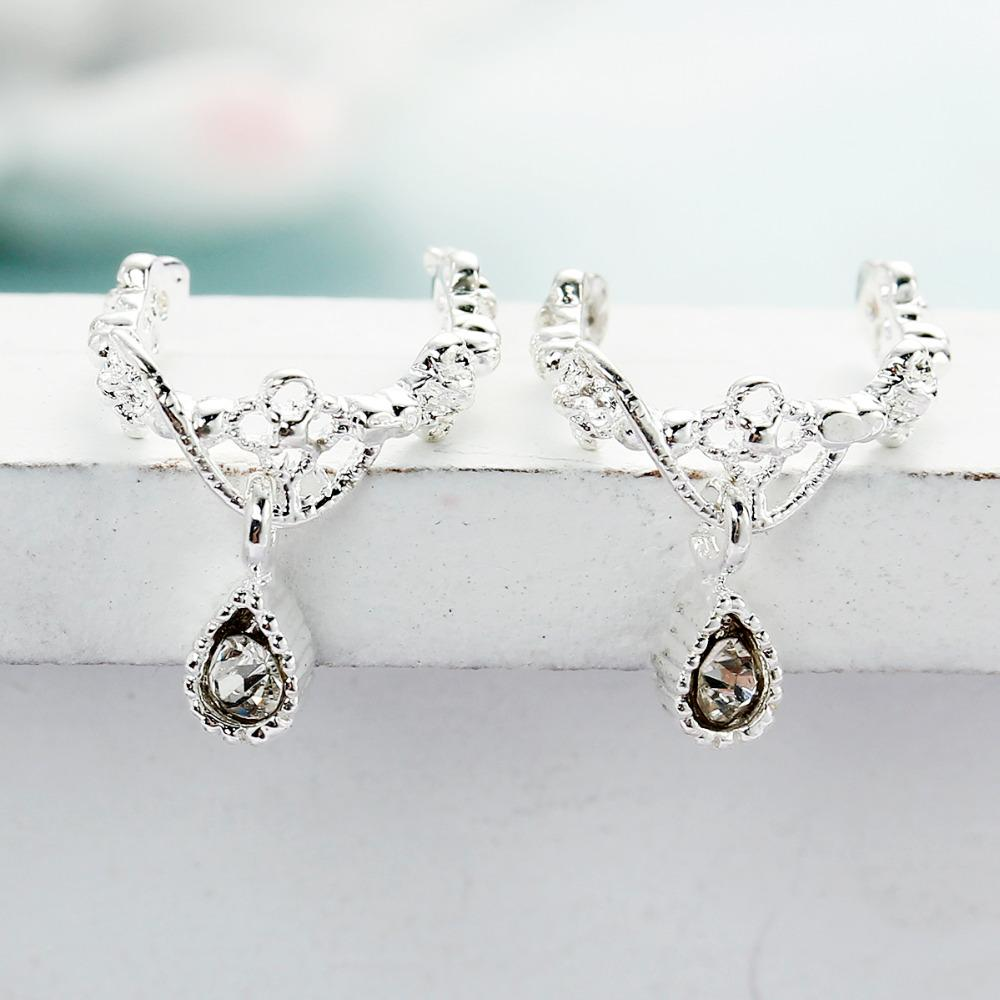 """DoreenBeads New Ear Cuffs Clip Wrap Earrings Drop gold color / silver color Clear Rhinestone 11mm 3/8"""" x 10mm 3/8"""","""