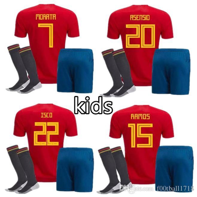 c306700a8 Kids Kit 2018 Spain World Cup Soccer Jersey Kit+socks Home PIQUE ...