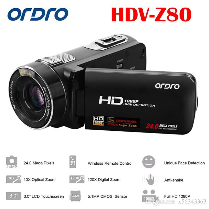 "Ordro HDV-Z80 Digital Video Camera HD 1080P Portable Full HD 10x Optical Zoom 3.0"" Touch Screen Camcorder with Remote Control"