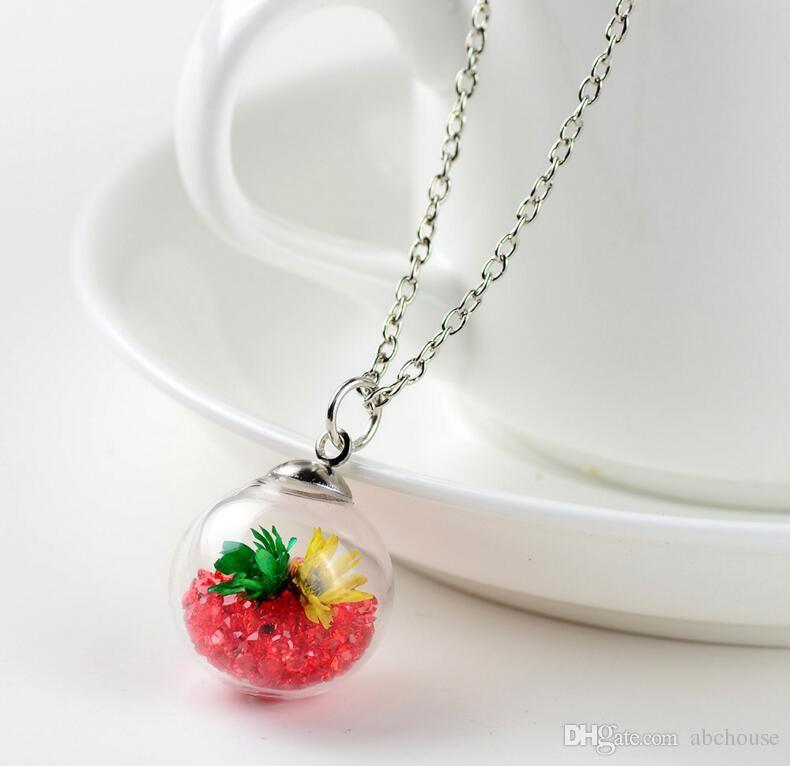 Wish Wishing message drift bottle pendants crystal Locket Dried Flower Necklace for women Float Locket Wishing Bottle Necklaces