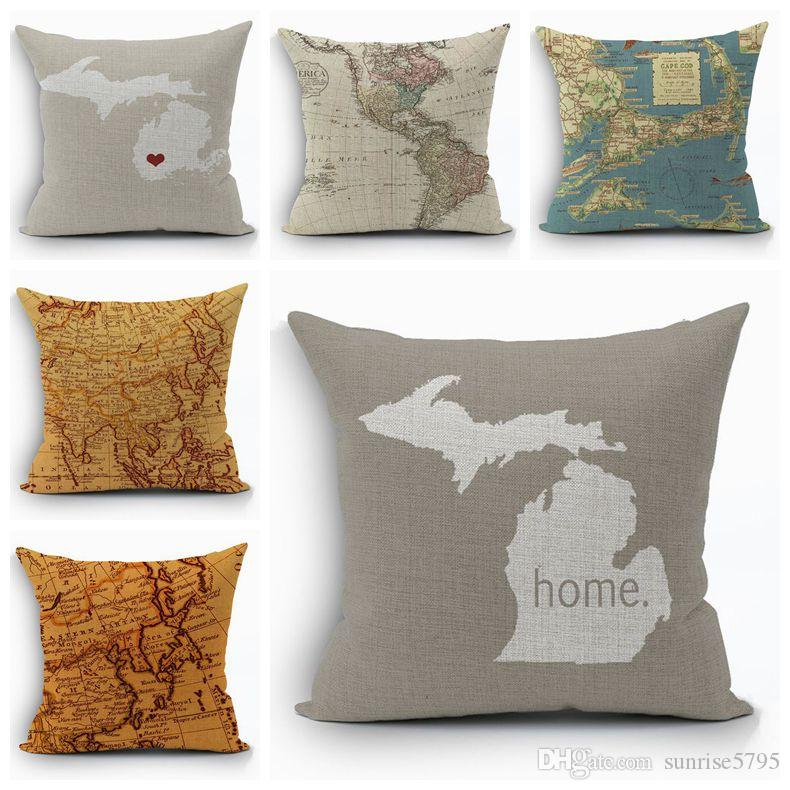 Vintage World Map Cushion Cover Shabby Chic Home Decor Ocean Ship
