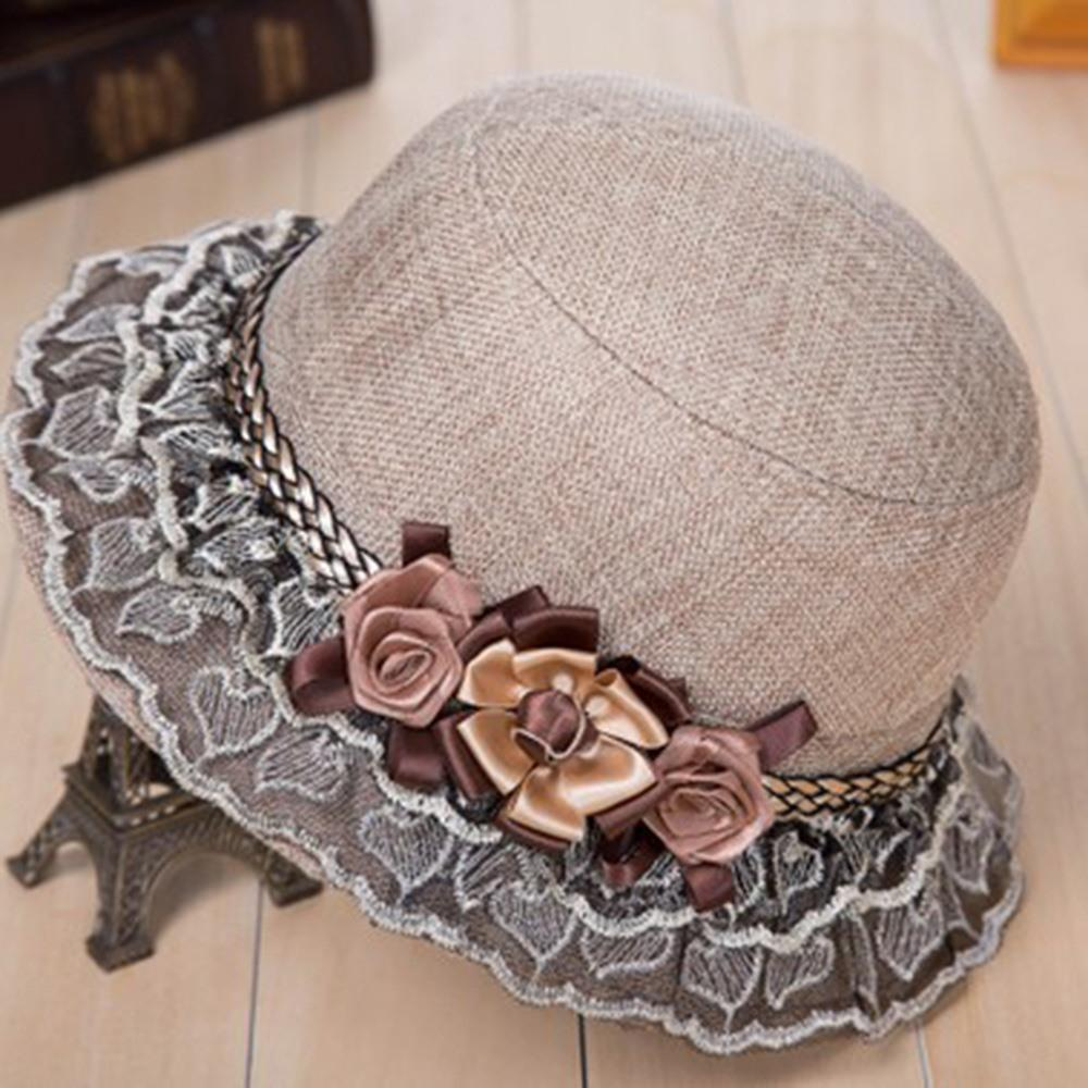2018 Hot Sale Sunscreen Sun Hat Sweet 3D Flower Lace Wide Brim Blue Elegant Party Cap Holiday Beach Fashion Casual Hats Female