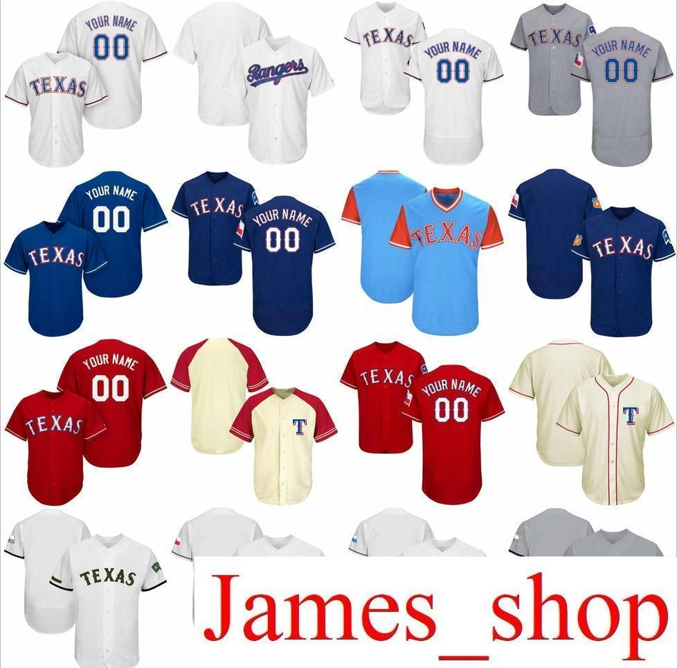 35c4c2e0c 2019 Custom Mens Womens Youth Rangers Baseball Jerseys Cream Grey White Red  Blue Stitched Any Name Any Number Flex Base Cool Base Player Jersey From ...