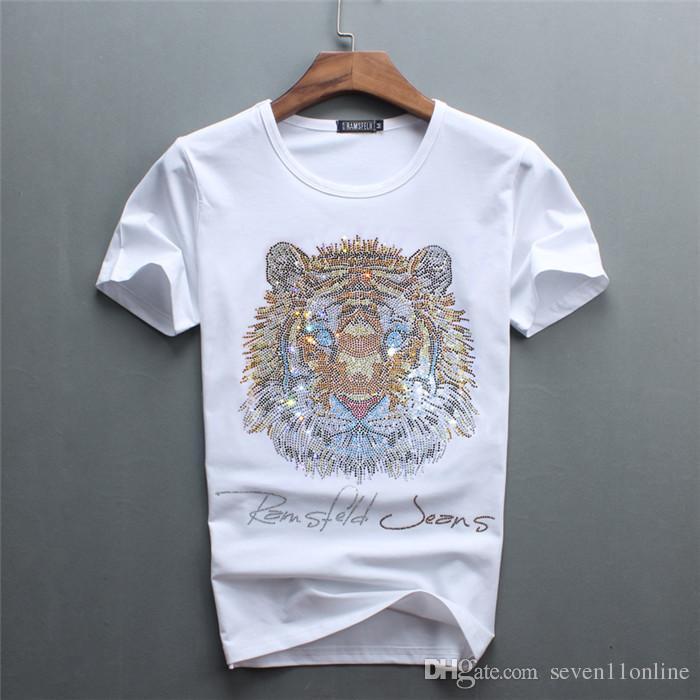 2021 бриллианты высочайшего качества мужской размер 2xL белый цвет короткие футболки с роскошным тиграм буквы алмазные повседневные хлопчатобумажные рубашки с коротким рукавом футболки бренды белые о-образные топы