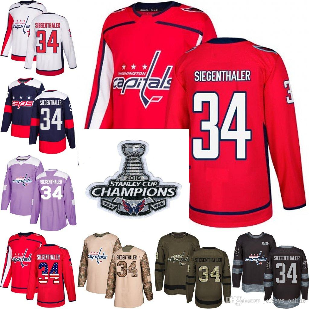 2019 2018 Stanley Cup Champions 34 Jonas Siegenthaler Washington Capitals  Green USA Flag Purple Fights Cancer Practice Camo Veterans Day Jersey From  ... 9c847fb4d