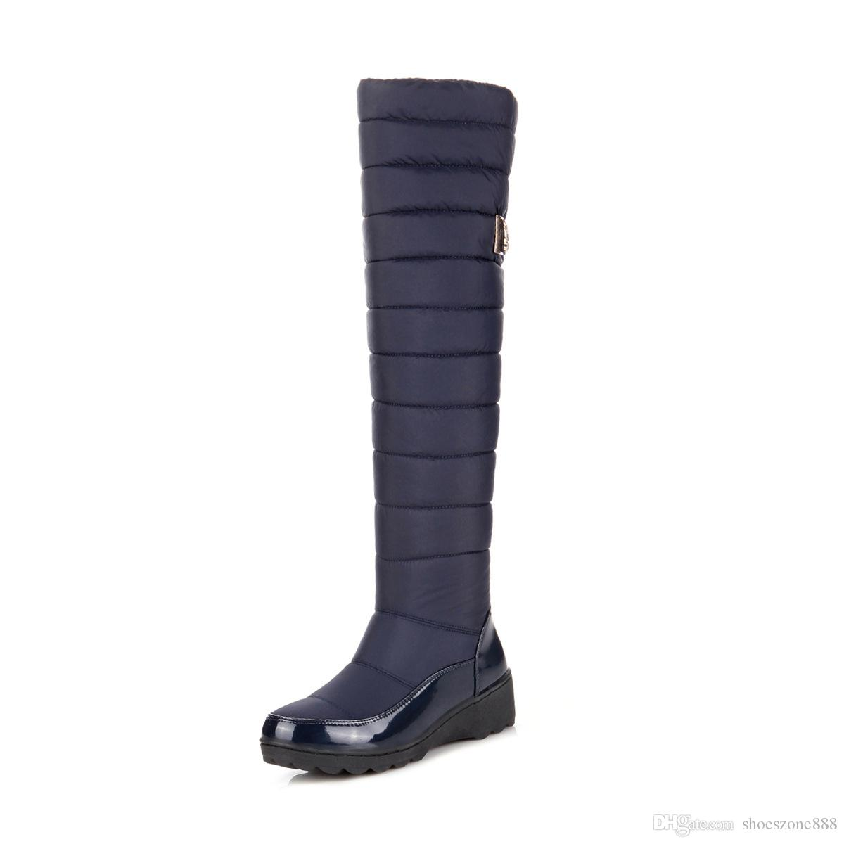 28a581d30 Warm Russia Women Winter Long Boots Plush Knee High Boots Down Fur  Waterproof Thigh High Ladies Snow Boots Shoes Round Toe Zv811 Combat Boots  Rain Boots ...