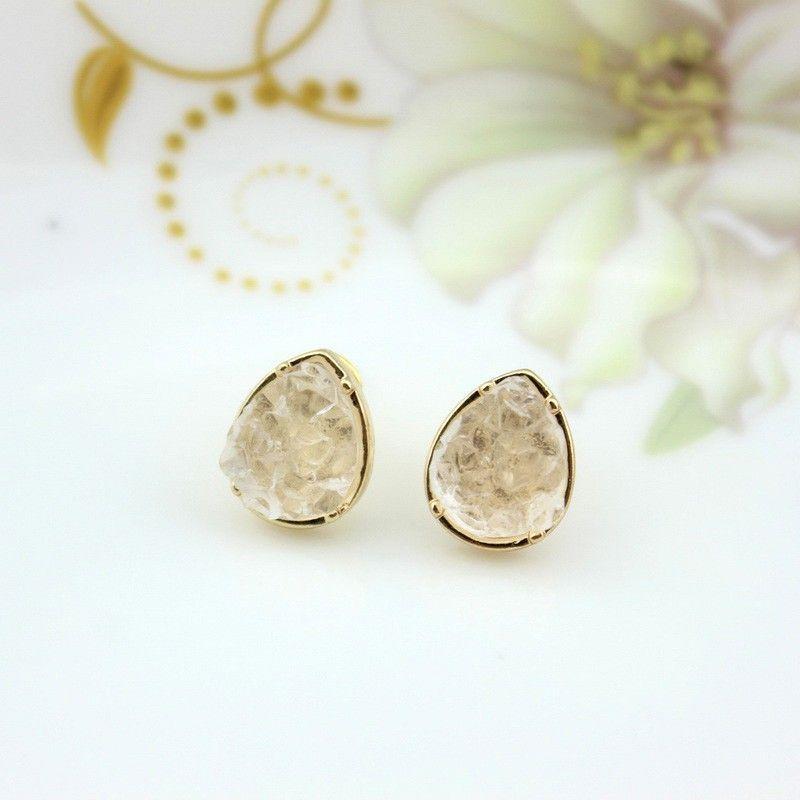 Fashion Gold Silver Round Teardrop Square Druzy Stud Earrings Fashion Mini Geometric Dot Black Quartze Stone Drusy Earrings Jewelry
