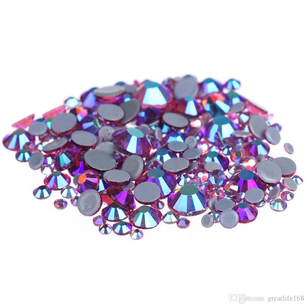 2d6e1351c Rose AB Hotfix Crystal Rhinestones For Nails Art Ss6 Ss30 And Mixed Sizes  Glue Backing Iron On Glass Diamonds DIY Garments Supplies Nail Crystals  Nail ...