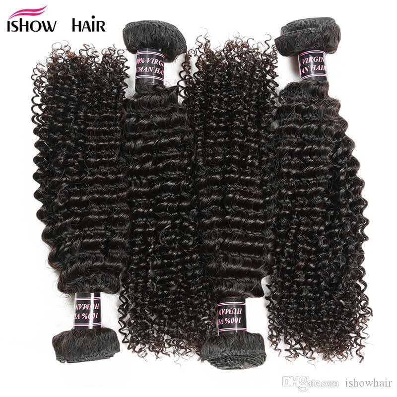 Precio al por mayor Barato 8A Visita sin procesar Brasileño Brasileño Rizado Virginal Hair 4 Paquetes peruanos Kinky Rizado Rizado Humano Tejido Paquetes Envío gratis