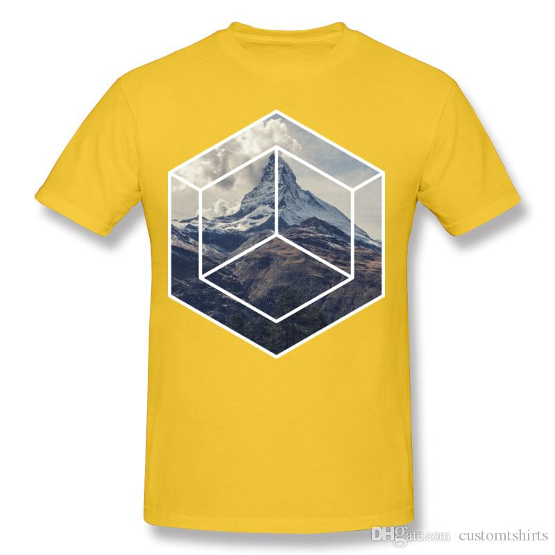 Nouveau Design Adulte 100% Coton Tissu Simple montagne Tee-Shirt Adulte Col Rond Gris Tee-Shirts À Manches Courtes Très Grand Taille Imprimé Sur T-shirt-