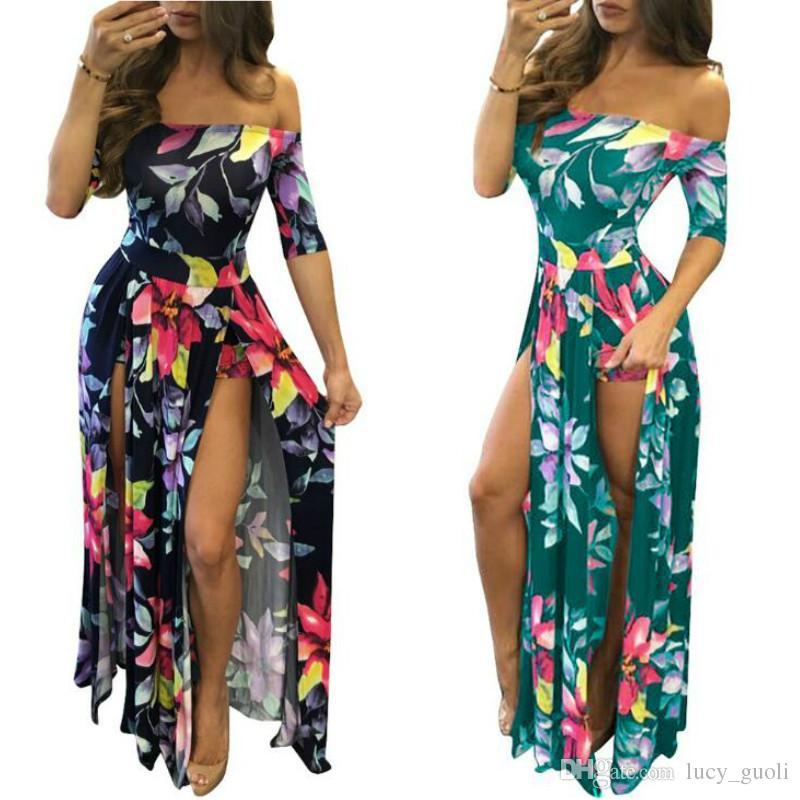 acbdaaa3fe Women Beach Summer Long Maxi Dresses Women Floral Print Dress Ankle Length  High Slit Bohemian Dress Backless Sexy Dress Female Big Size 5XL Flower  Summer ...