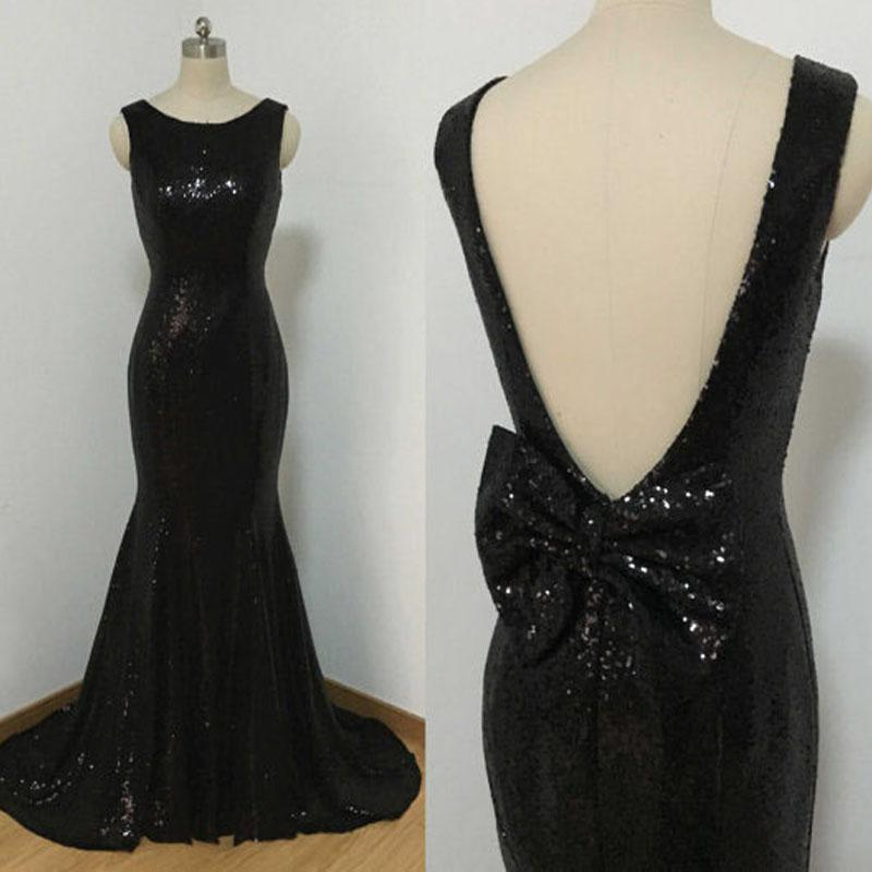 Black Sequined Dresses Cheap High Quality Sparkly Mermaid Prom Dress ...