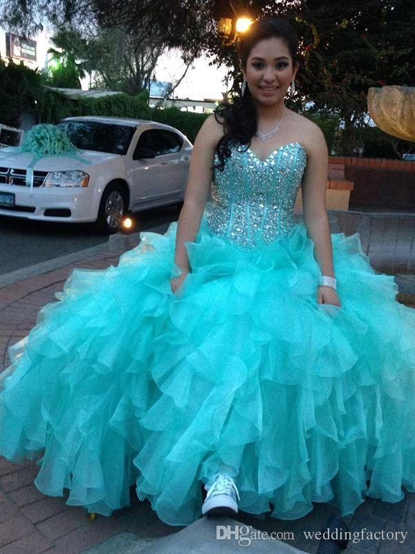 Aqua Blue Turquoise Quinceanera Dresses 2018 Luxury Crystals Boned Top Corset Back Sweetheart Sleeveless Ruffled Prom Party Gowns