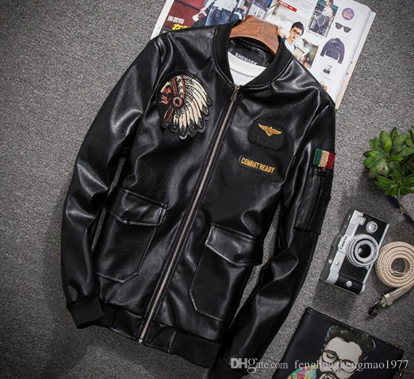 New men's leather collar collar fashion casual baseball uniform leather jacket embroidery head locomotive street warm jacket