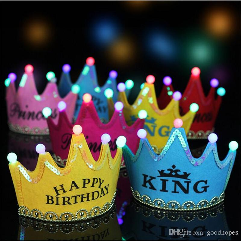 Boys Girls Children Kids Princess King Led Crown Happy Birthday Party Hats Fancy New Headwear 2018 New Outstanding Features Accessories