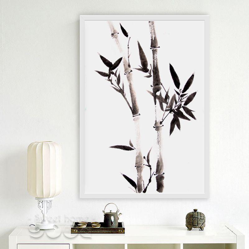 Grosshandel Anvas Kunstdruck Poster Aquarell Schwarz Bambus Leinwand