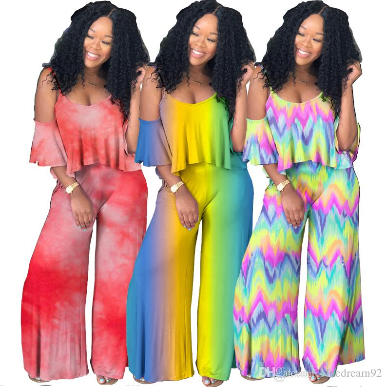 a1af9cc9101 2019 New Women Two Piece Outfits V Neck Sling Gradient Tie Dye Shirt  African Clothing Ruffled Pants Women Clothes Two Piece Sets From  Bluedream92