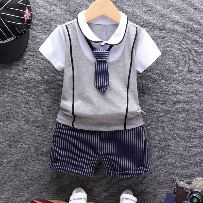 8448dce3e9cc 2019 2018 Summer Cotton Baby Boy Clothing Sets Formal Infant 1 Year ...