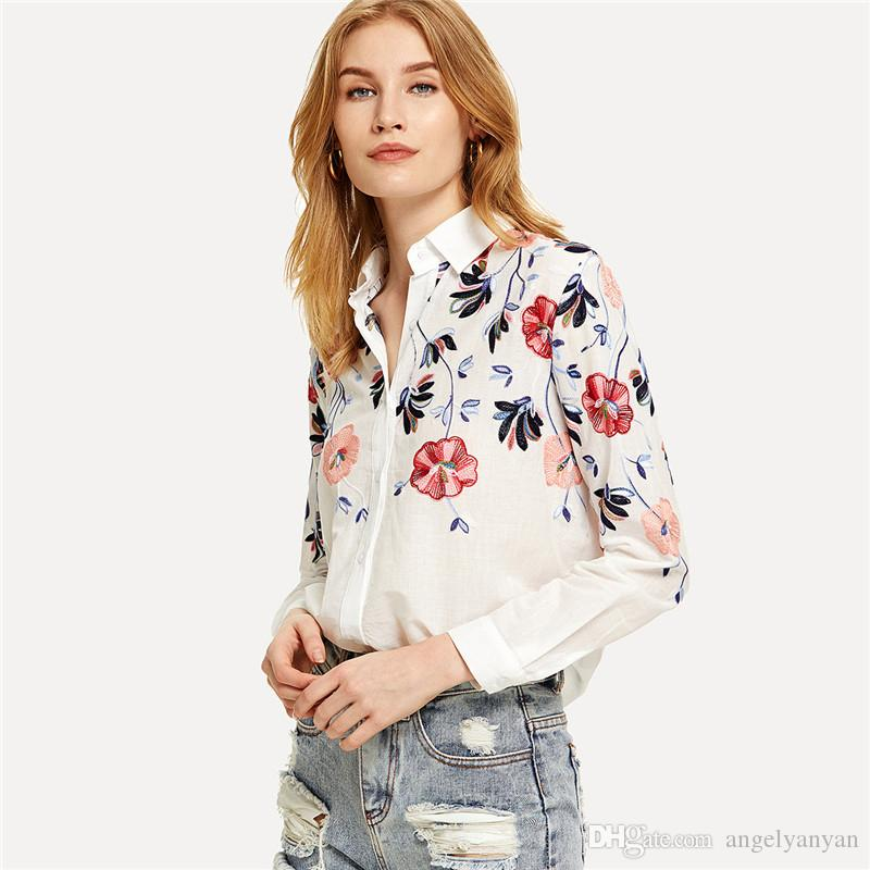 Blancas Manga Top 2018 Camisas Larga De Floral Bordado Botón Compre x4ROqwIPn