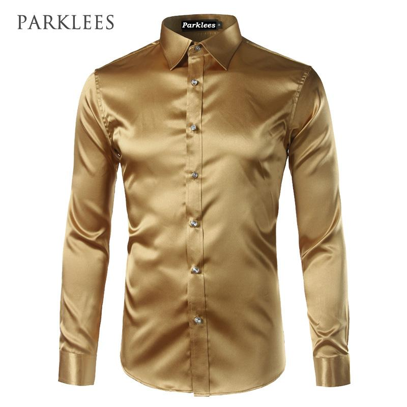 9358973a9cdb1 2019 New Gold Silk Satin Shirt Men Chemise Homme 2017 Fashion Mens Slim Fit  Long Sleeve Emulation Silk Button Down Dress Shirt Red From Sheju