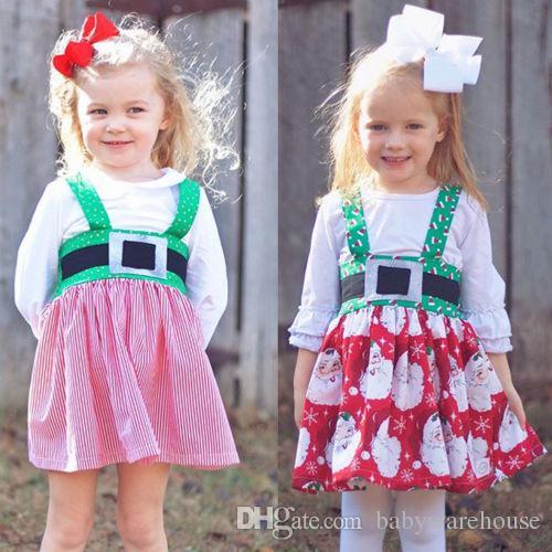 d5143fa21a26 2018 Christmas Kids Clothing Baby Girl Xmas Dress Santa Claus Stripe Dot  Strap Dress Princess Party Dresses Girls Outfit Children Clothing