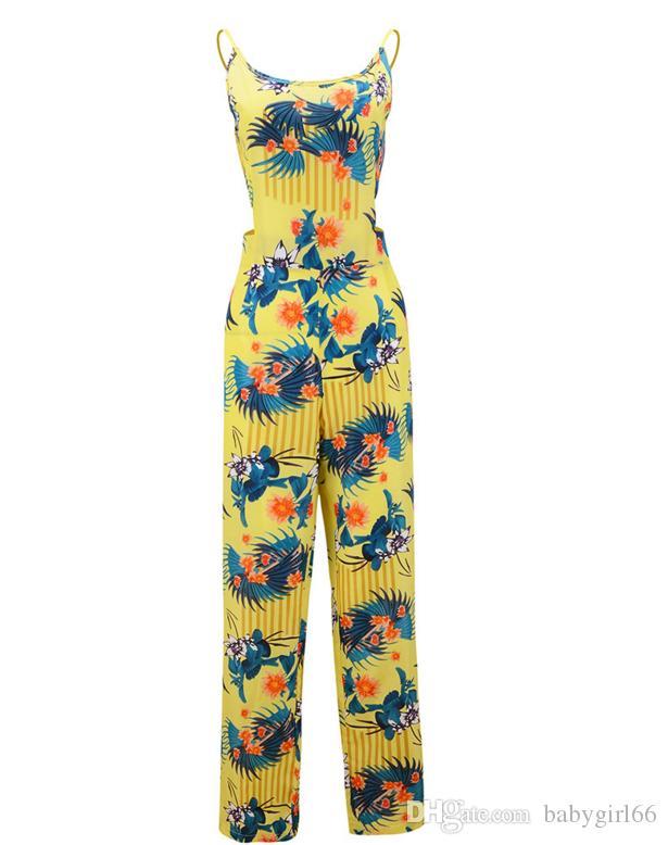 Sıcak Satmak Yaz kadın Giydirme Şifon Çiçek Iç Çamaşırı Kolsuz Kaşkorse Yaka Yay Maxi Casual Tulumlar