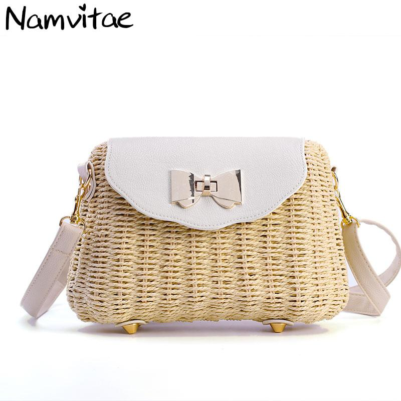 Luggage & Bags Vintage Handmade Rattan Woven Shoulder Bags Pu Leather Straps Bow Hasp Holiday Beach Crossbody Bag Messengers Women Handbag E Moderate Price