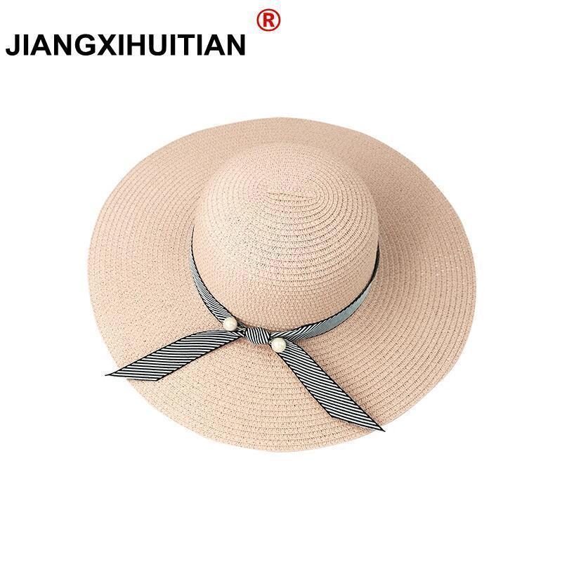 Acquista Estate Perle Cappello Di Paglia Da Donna Grande Cappello A Tesa  Larga Da Spiaggia Cappello Da Sole Parasole Pieghevole Protezione UV Panama  Osso ... c8023a40502d