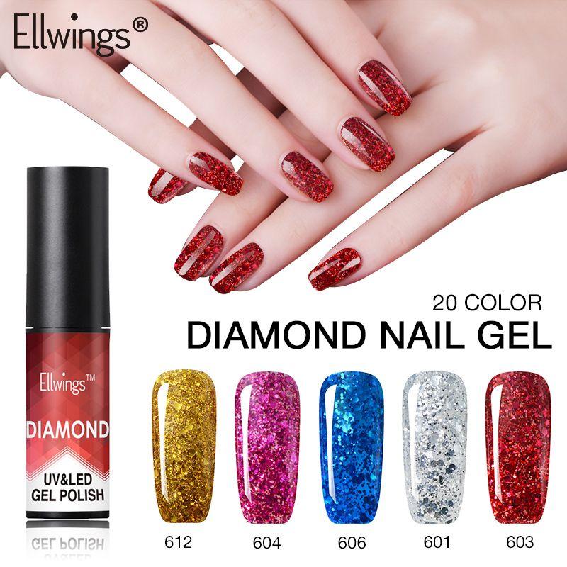 Ellwings Diamond Gel Varnishes Hybrid Color Gel Nail Polish Glitter