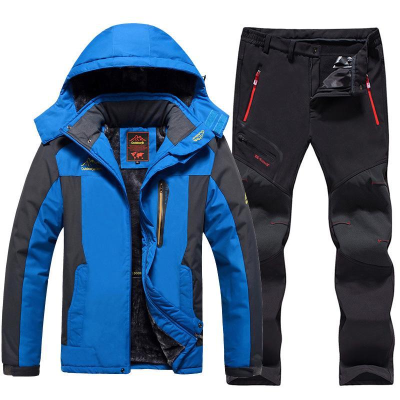 2019 Plus Size Men Ski Suit Waterproof Fleece Jackets And Pants Outdoor  Snowboard Snow Jacket Thicken Warm Men Skiing Hiking Coat From Hcaihong 98cd12df3