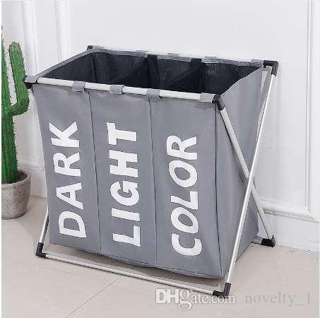 . SHUSHI Dirty clothes laundry Storage basket Three grid Organizer basket  bathroom laundry hamper home office storage basket
