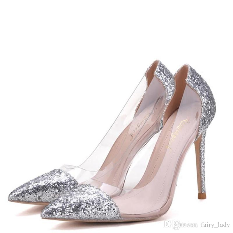 40b14074d01 Fashion Pointed Toe Transparent Women Pumps Sandals For Prom Evening 2018  Velvet Sequined and PU Material Wedding Shoes