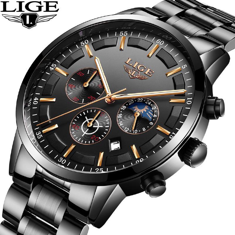 bf390448c020b Acheter Lige Top Marque De Luxe En Acier Noir Entreprise Étanche Hommes  Montre De Mode Sport Quartz Horloge Hommes Montres Relogio Masculino De  $43.7 Du ...