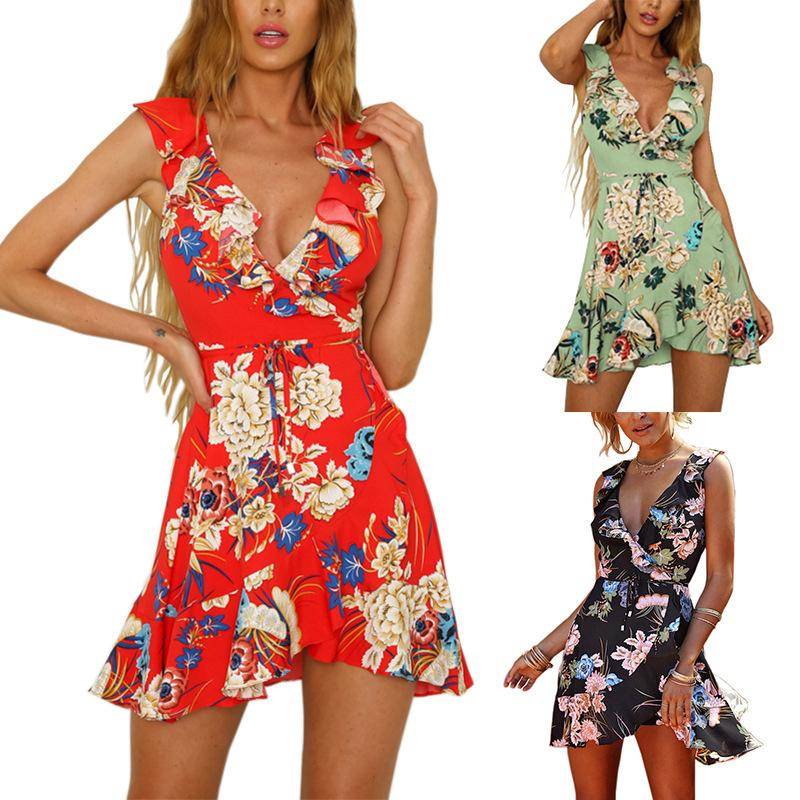 1990daab95 Women Chiffon Summer Dress Ruffle Bohemian Floral Print Beach Boho Dress  Sexy Deep V Neck Sleeveless Mini Wrap Dress Cocktail Dress Long Women Short  Dress ...