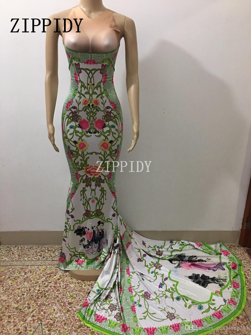 4c9f0c236d 2019 Sexy Beauty Flowers Pattern Printed Long Tail Dress Nightclub Female  Singer Stage Wear Prom Celebrate Dresses One Piece Costume From  Zunjilong205