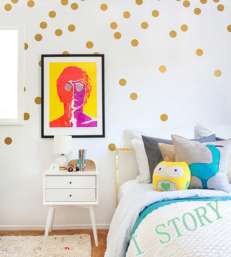 Gold Polka Dot Wall Decals Diy Creative Decorative Sticker For Kids