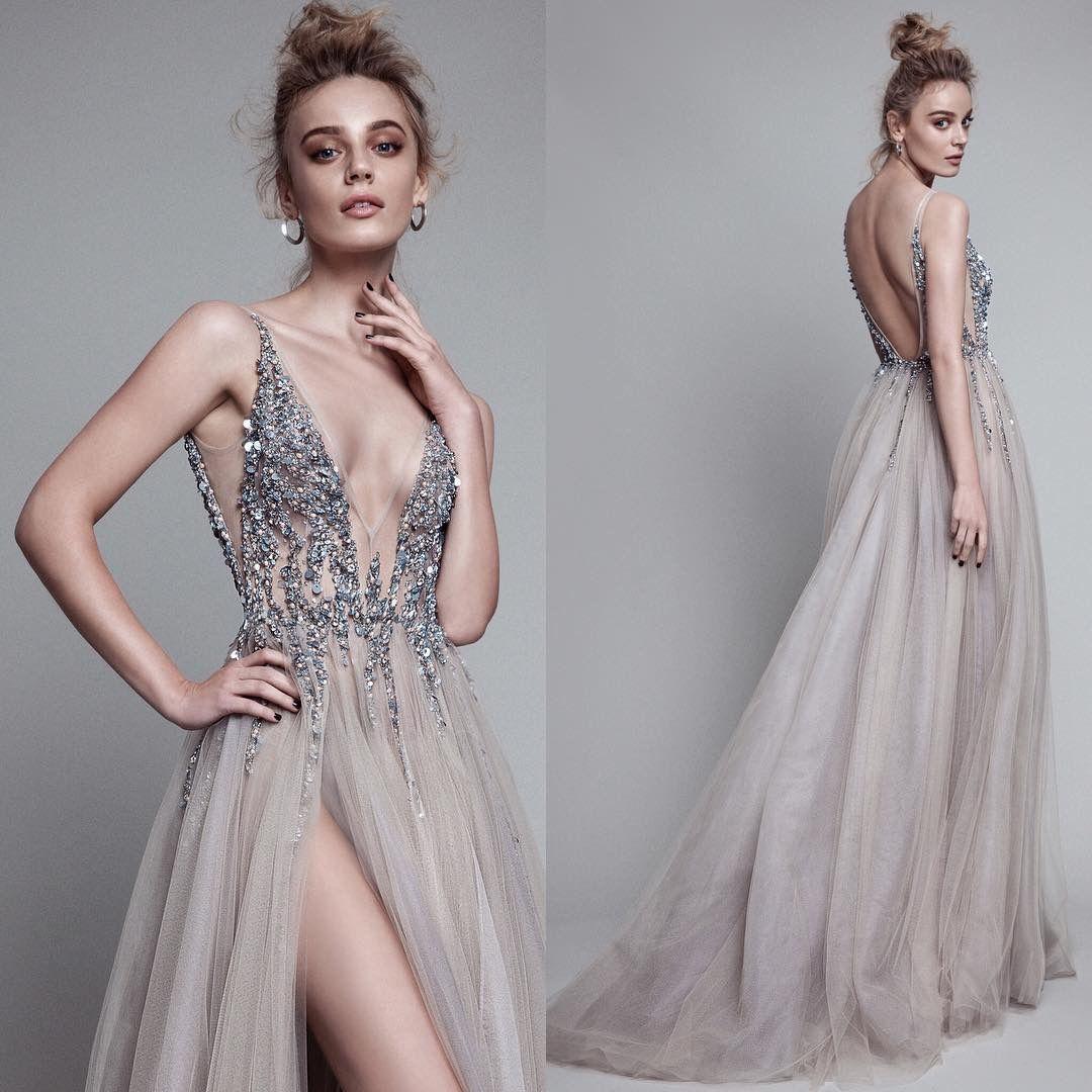 2018 chaud sexy sexy grogéeux perlé top col en V robe de col V