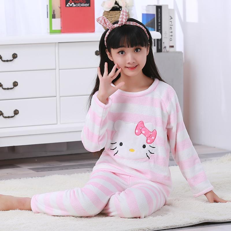 bd94479c738d 2019 Children Boy Warm Thick Fleece Cartoon Pyjamas Girl Long Sleeve ...