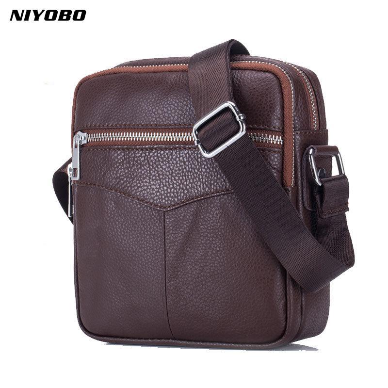 62e511886f5f NIYOBO Vintage Cowhide Genuine Leather Messenger Bag Men Sling Chest Small  Bag For Male Casual Top Handle Shoulder Bags 2018 New Ivanka Trump Handbags  ...