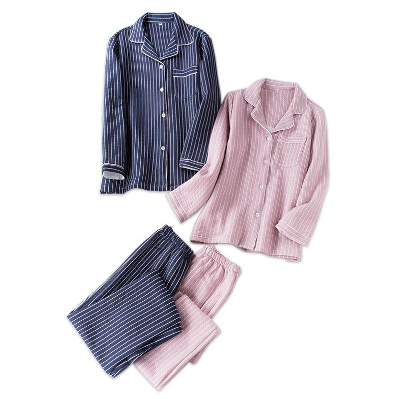 3a72de1dd 2019 Fashion Stripes Couple Scuba Quilted Pajamas Women Warm Pyjamas ...