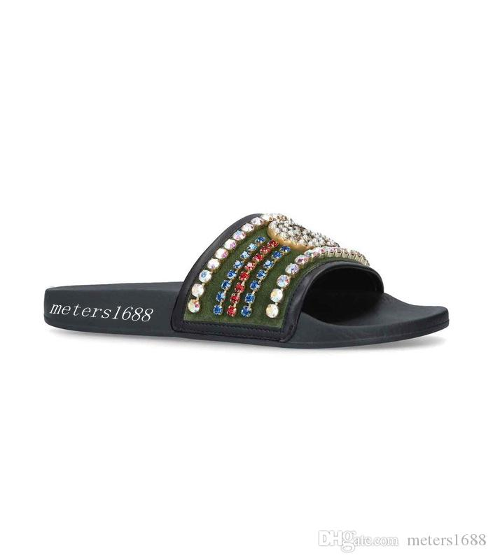 244d8be4b4e879 New Arrival 2018 Lastest Style Mens And Womens Fashion Green Velvet Slide Sandals  Slippers With Crystals Womens Loafers Fashion Shoes From Meters1688