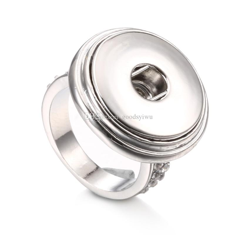 Noosa 18MM Snap Button Ring Fashion Unisex DIY Ginger Snap charm Jewelry Mix Size 7,8,9,10