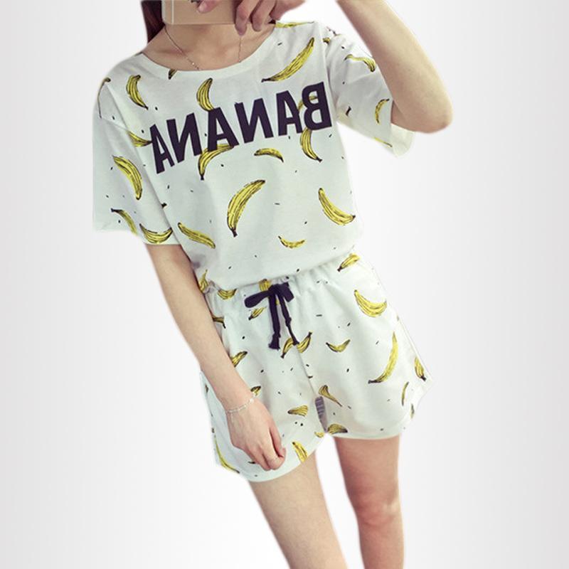 e5765bfbb4 Compre Nueva Pijama De Manga Corta De Verano De Las Mujeres Coreanas  Conjuntos De Impresión De Plátano Ropa De Casa Traje Damas Ropa De Dormir  Casual Al Por ...