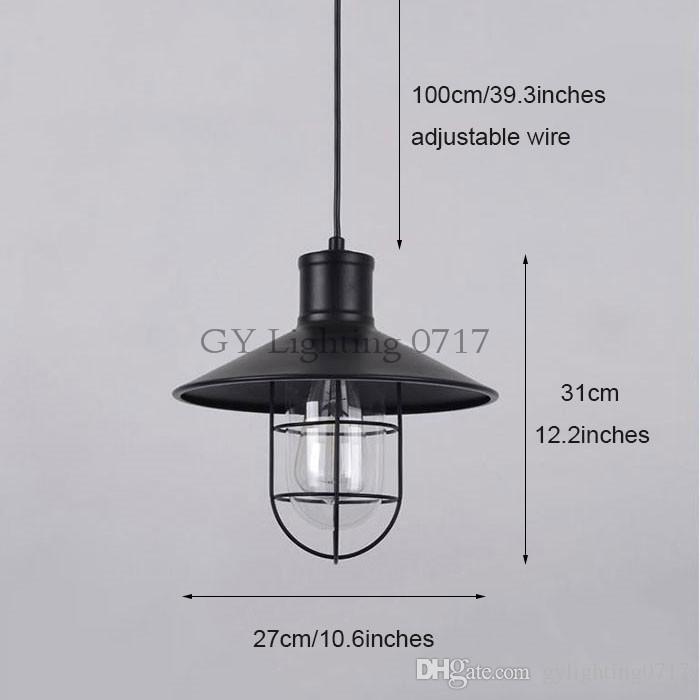 Industrial One-Light Ajustável Mini Luz pingente com Clear Glass + abajures De Metal preto lustre de plafond para iluminação de casa