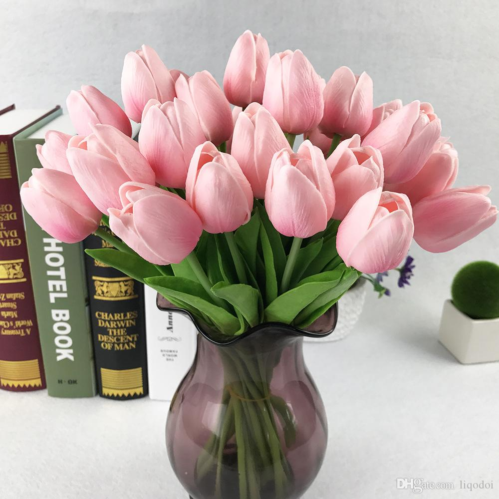 PU Fake Artificial Flower Bouquet Real Touch Silk Tulip Flowers for Party Wedding Home Decoration Flower