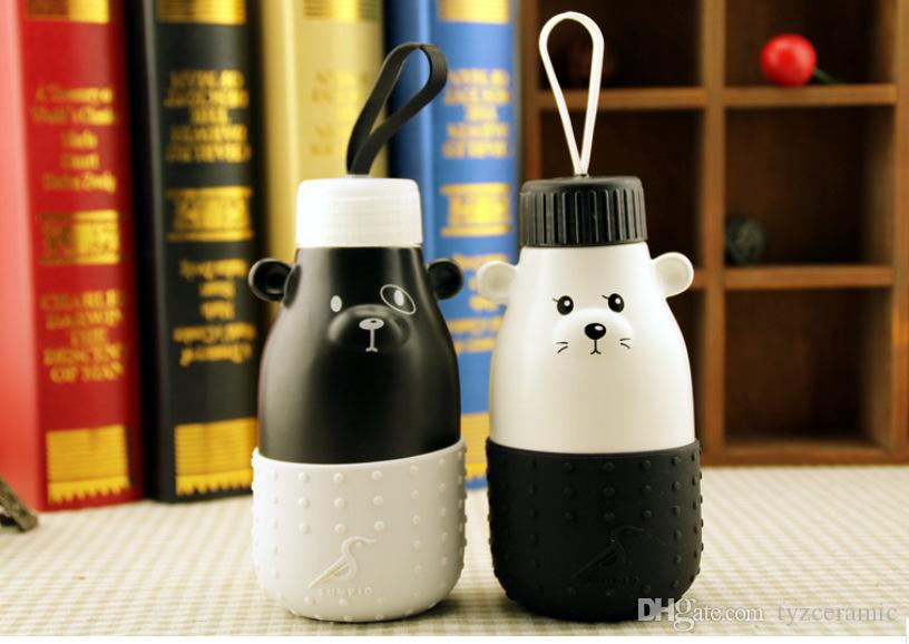 Ceramic bear Cup cute cartoon Mug Hand Couple Ceramic Milk mugs Silicone Insulation Hand Warmer Cup christmas gift