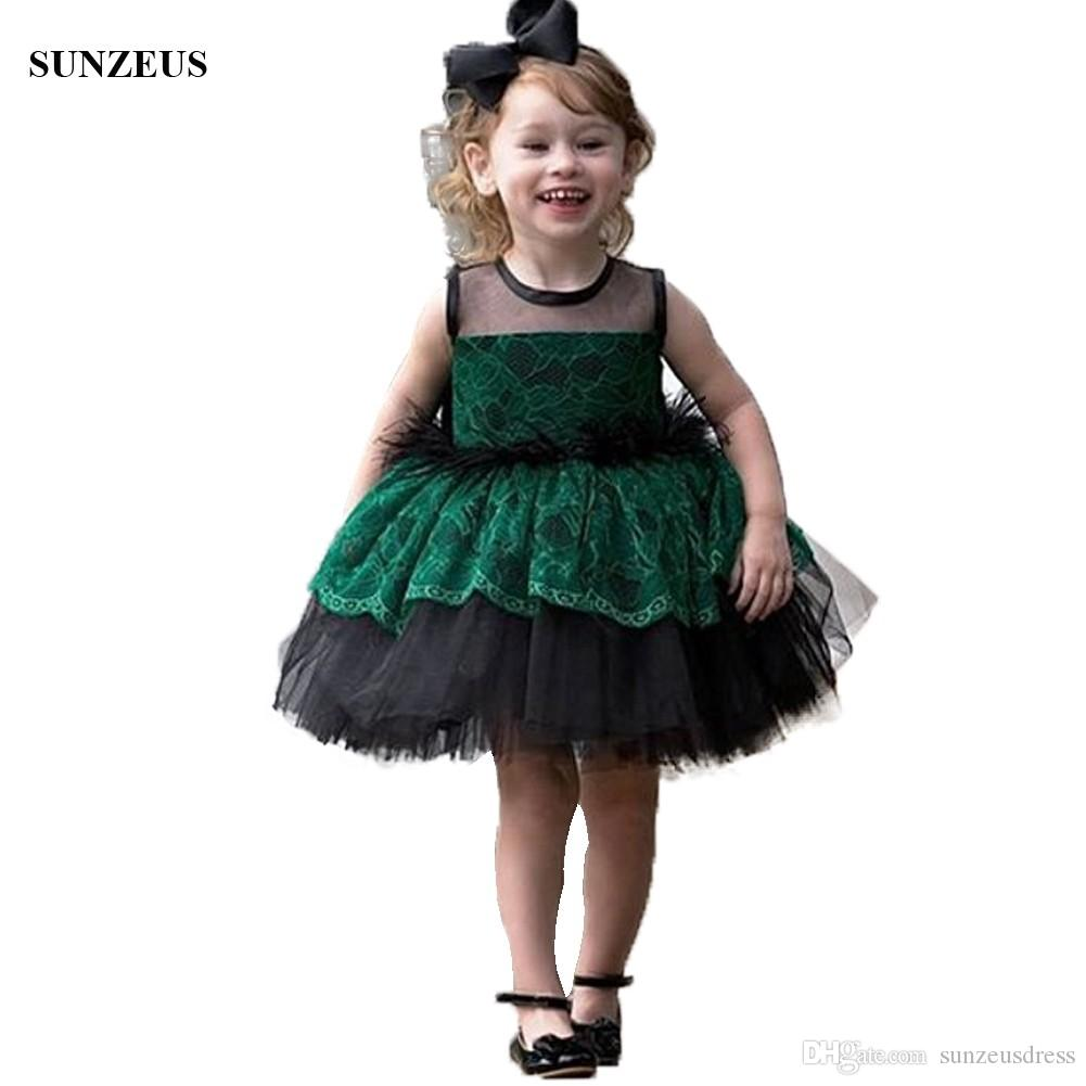 3c2a17462a Green Lace Black Kids Evening Party Dress With Feathers Ball Gown Tutu  Short Children Formal Wear Tulle Flower Girl Dress Princess Flower Girl  Dresses ...