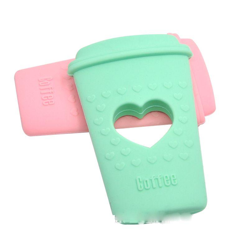 Tasse à café dentition jouet de dentition en silicone avec coeur pour garçons et filles chewelry tasse à thé dents dentaires