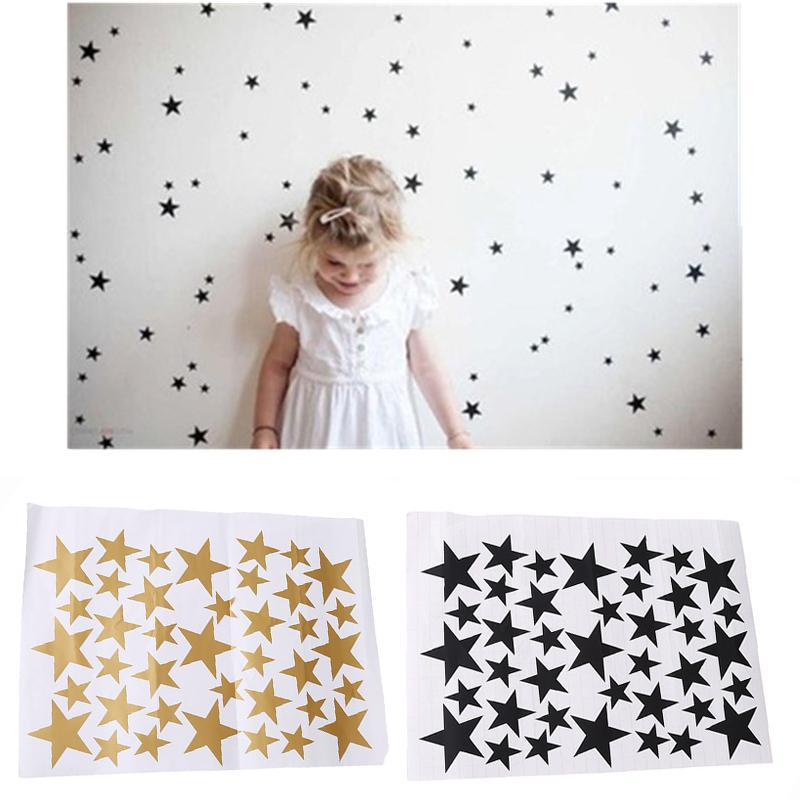 39 Star Gold Silver Black White Stars Paern PVC DIY Wall Art Decals for Kids Room Decoration Wall Stickers Home Decor IC893920